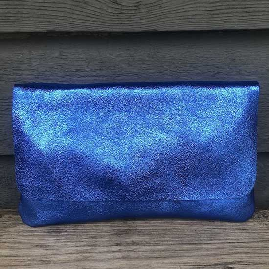 Small Italian Leather Clutch Bright Blue