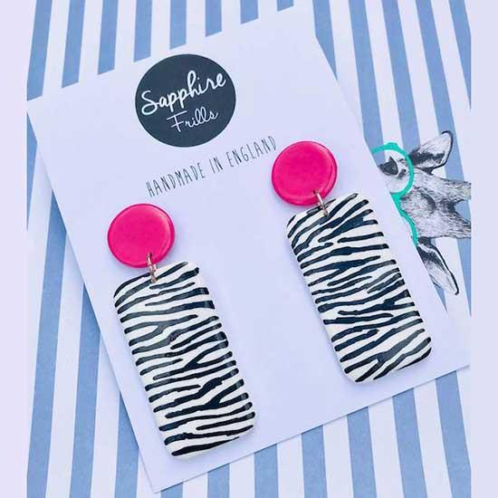 Hot Pink White Zebra Dangles