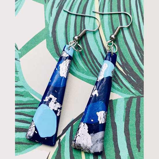 Blue Silver Trapeze Dangles